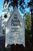 Photo of the sign in front of the Old Scotch Church